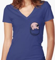 The Binding of Isaac, pocket Isaac Women's Fitted V-Neck T-Shirt