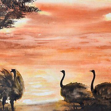 """136. """"Ostriches at Sunset"""" by M.Viljoen by mviljoenart"""