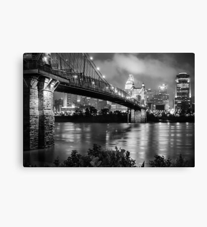 Cincinnati Skyline - John Roebling Bridge and Ohio River Canvas Print