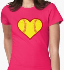 Yellow Fastpitch Softball Heart Womens Fitted T-Shirt