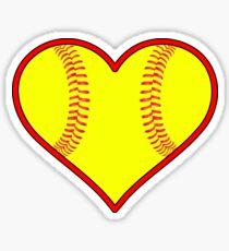 Yellow Fastpitch Softball Heart Sticker