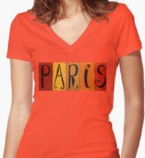 Paris Sign Women's Fitted V-Neck T-Shirt