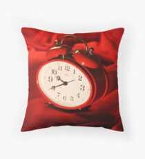 Red Alarm Clock 4 - Warm, Love, Valentine, Charming, White, Time Throw Pillow