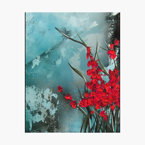 Turquoise and Red Flowers Photographic Print