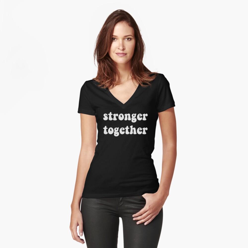 Political- Stronger Together Gender Equality   Women's Fitted V-Neck T-Shirt Front