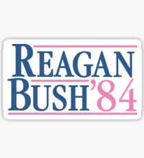 Reagan Bush 84 Pink Preppy Republikaner Sticker