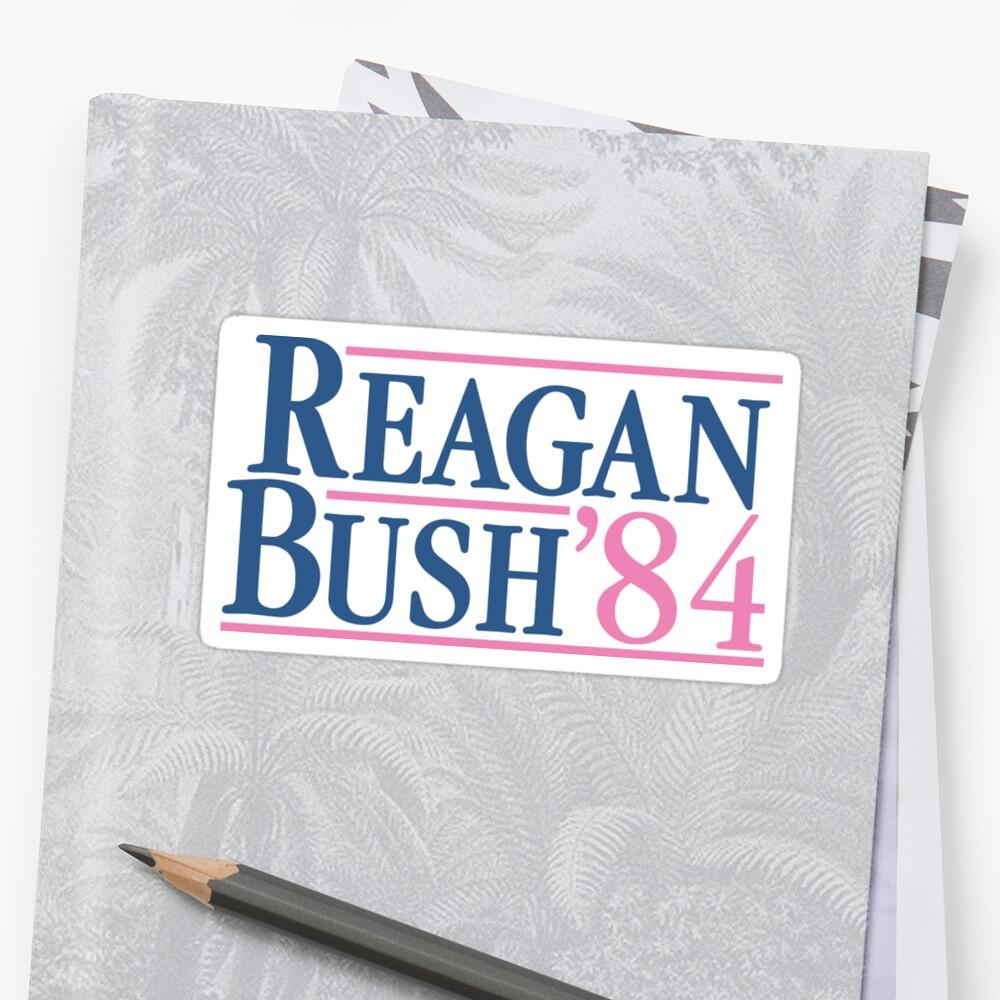 Reagan Bush 84 Pink Preppy Republican Pegatina