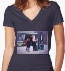 """""""UT Students Enjoying a Snow Day""""... prints and products Women's Fitted V-Neck T-Shirt"""