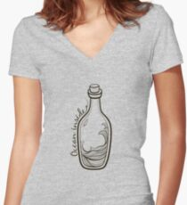 Retro vintage bottle with ocean inside  Women's Fitted V-Neck T-Shirt
