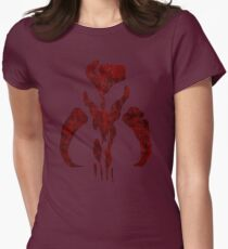 Boba Fett Symbol Mandalorian Mythosaur Skull Womens Fitted T-Shirt