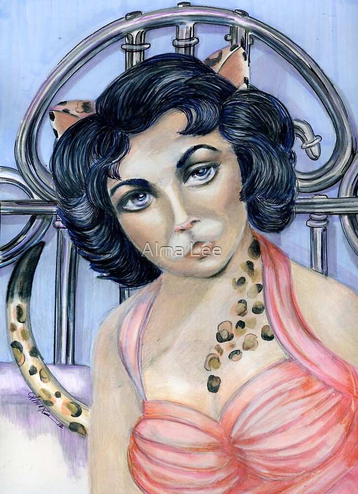 Cat on a Hot Tin Roof, Pop Surrealism by Alma Lee by Alma Lee