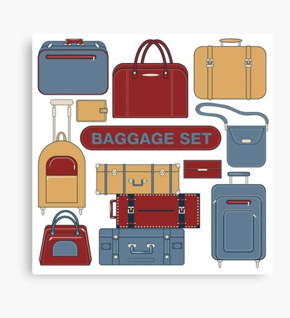 Baggage Set for Travel Time. Different Bags and Suitcases Canvas Print