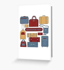 Baggage Set for Travel Time. Different Bags and Suitcases Greeting Card
