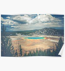 Forest Mountain Water - Rainbow Prismatic Hot Spring Yellowstone National Park Poster