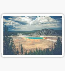 Forest Mountain Water - Rainbow Prismatic Hot Spring Yellowstone National Park Sticker