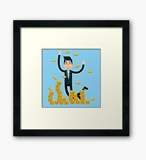 Successful Businessman Celebrates Big Money Deal Framed Print