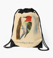 W is for Woodpecker Drawstring Bag