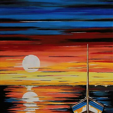 Moonlight Reflections - Contemporary Seascape by kathlesa