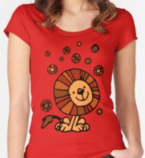 Cute Cartoon Lion Dream by Cheerful Madness!! Women's Fitted Scoop T-Shirt
