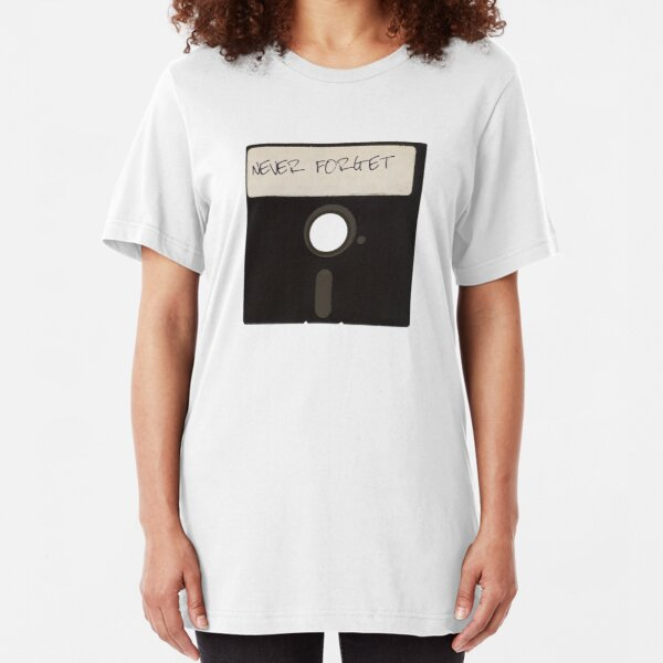 Never Forget Computer Floppy Disks Slim Fit T-Shirt