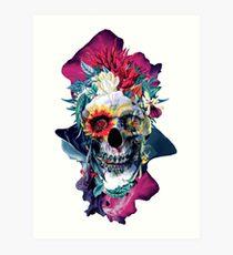 Floral Skull Blue Art Print
