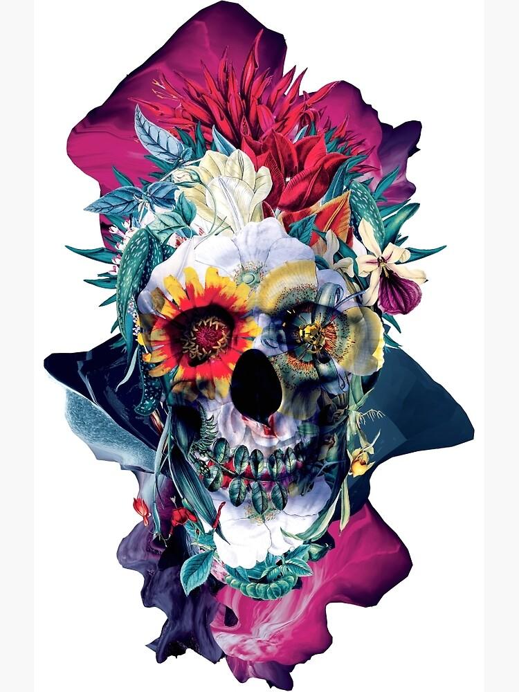 Floral Skull Blue by rizapeker