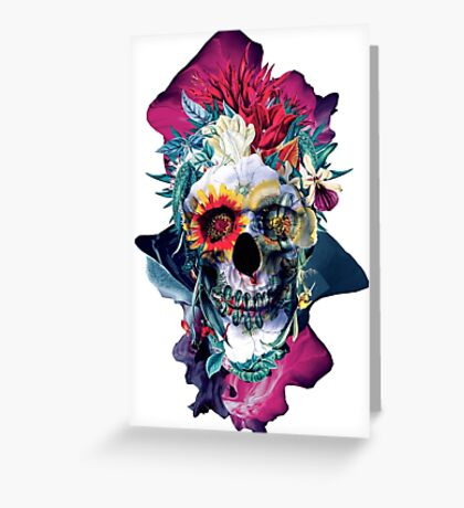Floral Skull Blue Greeting Card