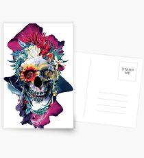 Postales Cráneo floral azul