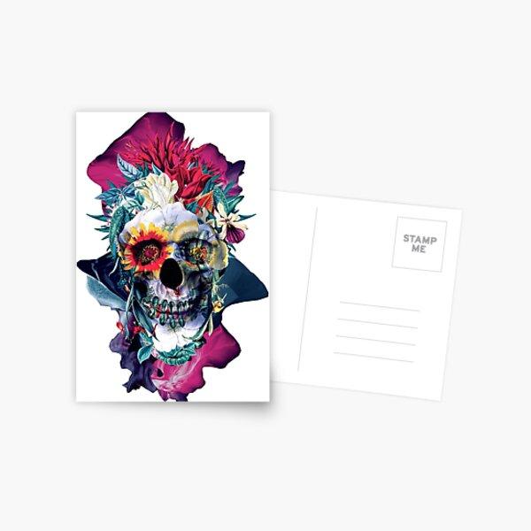 Floral Skull Blue Postcard