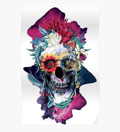 Floral Skull Blue Poster