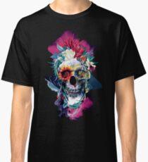 Blumenschädel Blau Classic T-Shirt