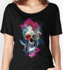 Floral Skull Blue Women's Relaxed Fit T-Shirt