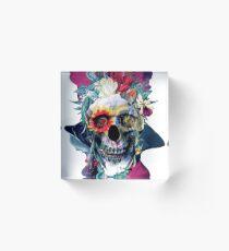 Floral Skull Blue Acrylic Block