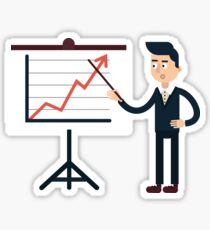 Businessman Behind Stand with Chart Sticker