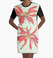 Red Flowers Graphic T-Shirt Dress