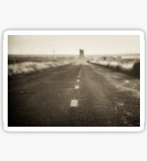 Route 66 Road Trip - Black and White Dawn at Midpoint Adrian Texas Sticker