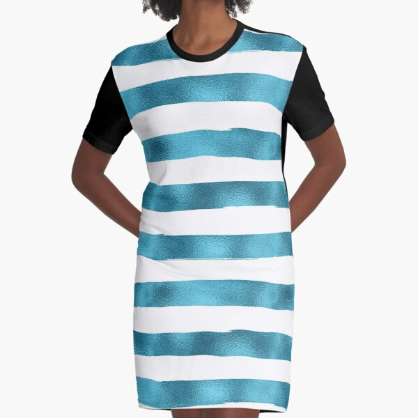 Shimmery Blue Stripes Graphic T-Shirt Dress