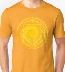 Strange magic circle, orange glowing mandala Unisex T-Shirt