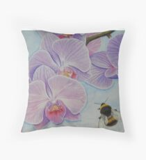 Bee aproaching Phalaenopsis Orchid Throw Pillow