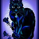 Very Black Cat and Roses by Lotacats