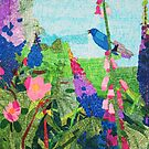 Summer Garden With Bluebird Detailed Ink Drawing by Express Yourself Artshop