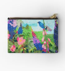 Summer Garden With Bluebird Detailed Ink Drawing Studio Pouch