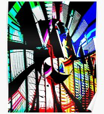Colourful Beach Huts Abstract Poster