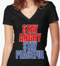 STAY ANGRY STAY PEACEFUL Women's Fitted V-Neck T-Shirt