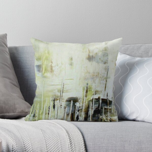 Gray White and Cream - Line Up Throw Pillow