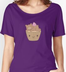 Cute and Kawaii Bear Cupcake  Women's Relaxed Fit T-Shirt