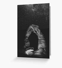 Night Sky Stars - Black and White Delicate Arch at Arches National Park Utah Greeting Card