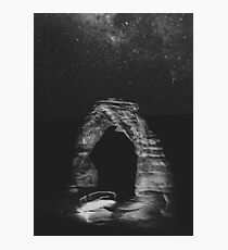 Night Sky Stars - Black and White Delicate Arch at Arches National Park Utah Photographic Print