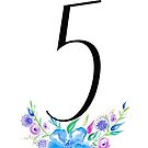 Number 5 with Watercolour Flowers by BbArtworx