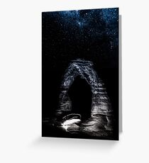Nature Night Sky - Vintage Black and White Delicate Arch at Arches National Park Utah Greeting Card